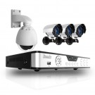 4CH H.264 DVR Real-time D1 with 1TB HDD & 3 Sony CCD 65ft IR Outdoor Bullet Cameras & 1 Pan Tilt Camera