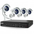 Complete Home Security System 4 CH Full D1 DVR 4 Outdoor CCD IR Night Vision Surveillance Cameras No Hard Drive