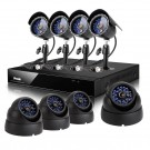 8CH H.264 DVR Security Camera System with 1TB Hard Drive & 4 Bullet + 4 Dome Sony CCD 65ft Night Vision Outdoor Security Cameras