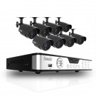 8CH H.264 DVR & 8 CMOS 480 TVL 30ft Night Vision Weatherproof Security Cameras and No Hard Drive