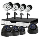16CH H.264 DVR 1TB & 4 Bullet + 4 Dome Sony CCD 65ft Night Vision Outdoor Security Cameras