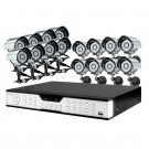 16CH H.264 DVR & 16 Sony CCD 65ft Night Vision Weatherproof Cameras without Hard Drive